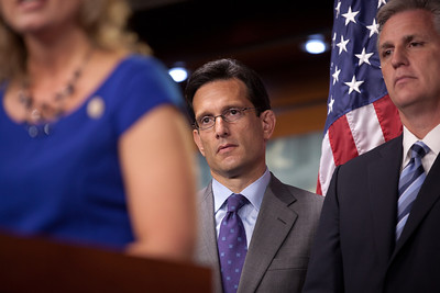 "At a press conference, House Majority Leader Eric Cantor (R-VA) with other House Republicans discussed the ""cut, cap, and balance"" bill and called on President Obama to offer a serious plan to cut spending. On Capitol Hill in Washington DC on July 19, 2011. (Photo by Jeff Malet)"