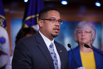The Congressional Progressive Caucus and its co-chair, Keith Ellison (D-MN), came out against the debt ceiling deal of President Barack Obama and congressional leadership. At a press conference on Capitol Hill in Washington DC on August 1, 2011, Ellison said tea party-aligned members of the Republican Party have held our economy hostage by demanding large cuts and opposing tax increases in exchange for raising the debt limit. (Photo by Jeff Malet)