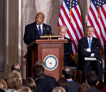 Rep. John Lewis (D-GA) speaks at the 50th anniversary of John F. Kennedy's inaugural address. The event was marked with speeches celebrating Kennedy's famous call on Americans to serve their country. Vice President Joe Biden, Senate Majority Leader Harry Reid (D-NV) and JFK's daughter Caroline Kennedy were among the speakers at the ceremony in the Rotunda of the Capitol held a half-century after Kennedy's 1961 address. Many members of the extended Kennedy Family were in attendance. Lewis was a leader in the American Civil Rights Movement and chairman of the Student Nonviolent Coordinating Committee (SNCC), playing a key role in the struggle to end segregation. January 20, 2011 in Washington DC  (Photo by Jeff Malet)