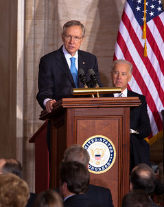 Senate Majority Leader Harry Reid (D-NV) speaks at the 50th anniversary of John F. Kennedy's inaugural address. The event was marked with speeches celebrating Kennedy's famous call on Americans to serve their country. Vice President Joe Biden was among the speakers at the ceremony in the Rotunda of the Capitol held a half-century after Kennedy's 1961 address. Many members of the extended Kennedy Family were in attendance. January 20, 2011 in Washington DC  (Photo by Jeff Malet)