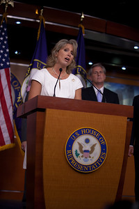 Rep. Renee Ellmers (R-NC) joined Speaker John Boehner (R-OH) and other leading House Republicans for a press conference on the debt crisis confrontation, on Capitol Hill in Washington DC on Thursday, July 28, 2011. (Photo by Jeff Malet)