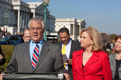 Rep. Barney Frank (D-MA), Ranking Member of the full House Financial Services Committee, hailed the first 100 days of the Consumer Financial Protection Bureau on November 2, 2011 in Washington D.C. Frank spoke at an outdoor press conference on the House side of the Capitol's East Front. He was joined by Rep. Carolyn Maloney (D-NY) (right), Ranking Member of the Financial Institutions and Consumer Credit Subcommittee of the House Financial Services Committee. (Photo by Jeff Malet)