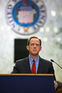 Senator Pat Toomey (R-PA) speaks at the first meeting of the Senate Tea Party Caucus on Thursday January 27, 2011 on Capitol Hill in Washington DC. (Photo by Jeff Malet)