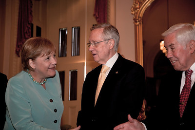German Chancellor Angela Merkel meets with Senate Majority Leader Harry Reid (D-NV) on Capitol Hill in Washington DC, Tuesday, June 7, 2011. Senator Richard Lugar (R-IN) stands on right.  (Photo by Jeff Malet)