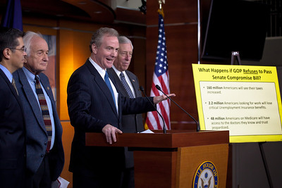 Rep. Chris Van Hollen (D-MD) answers reporters' questions at a press conference about the Republican controlled House's inability to pass the Social Security payroll tax extension, on Capitol Hill in Washington D.C. on December 22, 2011. Van Hollen holds the top Democratic spot on the House Budget Committee. Also appearing at the press conference, were  Rep. Xavier Becerra (D-CA),  Rep. Sandy Levin (D-MI) and Minority Whip Steny Hoyer (D-MD). (Photo by Jeff Malet)