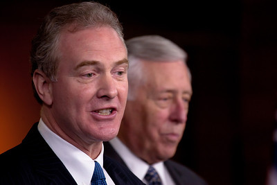 Rep. Chris Van Hollen (D-MD) (left) and Minority Whip Steny Hoyer (D-MD) answer reporters' questions. House Democratic leaders hold a press conference about the Republican controlled House's inability to pass the Social Security payroll tax extension, on Capitol Hill in Washington D.C. on December 22, 2011.  (Photo by Jeff Malet)