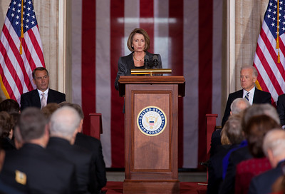 House Minority Leader Nancy Pelosi speaks at the 50th anniversary of John F. Kennedy's inaugural address. The event was marked at the Capitol with speeches celebrating Kennedy's famous call on Americans to serve their country. Speaker John Boehner, Vice President Joe Biden and JFK's daughter Caroline Kennedy were among the speakers at the ceremony in the central Rotunda of the United States Capitol held a half-century after Kennedy's 1961 address. Many members of the extended Kennedy Family were in attendance. January 20, 2011 in Washington DC  (Photo by Jeff Malet)