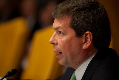 Senator Mark Begich (D-AK) questions Douglas Elmendorf, the director of the Congressional Budget Office, at his testimony on the budget and economic outlook before the Senate Budget Committee on Thursday January 27, 2011 on Capitol Hill in Washington DC. The CBO estimated that week that the deficit for fiscal year 2011 would grow to $1.5 trillion. (Photo by Jeff Malet)