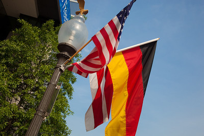 Flags of Germany, the United States and the District of Columbia line Pennsylvania Ave. in Washington DC for the state visit of German Chancellor Angela Merkel on Tuesday, June 7, 2011.  (Photo by Jeff Malet)
