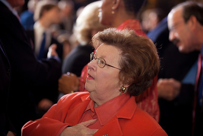 Senator Barbara Mikulski (D-MD) attends a ceremony marking the 50th anniversary of John F. Kennedy's inaugural address in the central Rotunda of the United States Capitol on January 20, 2011 in Washington DC. (Photo by Jeff Malet)