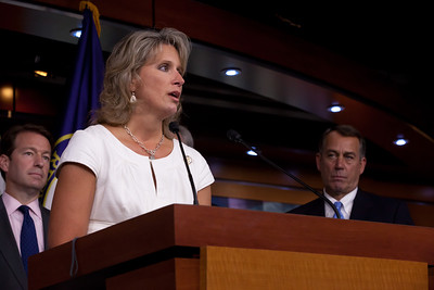 Rep. Renee Ellmers (R-NC) joined Speaker John Boehner (R-OH) (far right) and other leading House Republicans for a press conference on the debt crisis confrontation, on Capitol Hill in Washington DC on Thursday, July 28, 2011. (Photo by Jeff Malet)