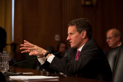 Treasury Secretary Tim Geithner testifies before the Senate Finance Committee on Capitol Hill on Wednesday, February 16, 2011. Geithner said that to help reduce the country's deficit, the United States had to look at revenues and not only cuts to discretionary spending. (Photo by Jeff Malet)