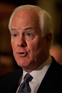 Senator John Cornyn (R-TX) addresses reporters during a media availability following the weekly caucus luncheons on June. 7, 2011, on Capitol Hill in Washington DC.  (Photo by Jeff Malet)