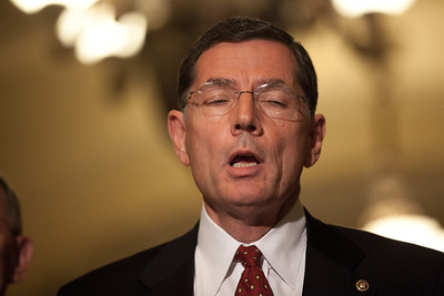 Senator John Barrasso (R-WY) speaks with reporters on Capitol Hill in Washington, Tuesday, July 19, 2011, following the weekly Republican policy meeting. Barrasso was joined by Senate Minority Leader Mitch McConnell (R-KY) and Senator Lamar Alexander (R-TN). (Photo by Jeff Malet)