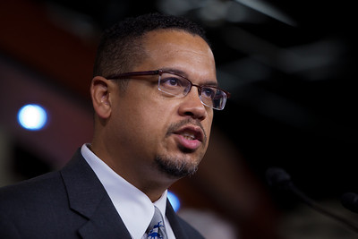 The Congressional Progressive Caucus and its co-chair, Keith Ellison (D-MN), have come out against the debt ceiling deal of President Barack Obama and congressional leadership. At a press conference on Capitol Hill in Washington DC on August 1, 2011, Ellison said tea party-aligned members of the Republican Party have held our economy hostage by demanding large cuts and opposing tax increases in exchange for raising the debt limit. (Photo by Jeff Malet)