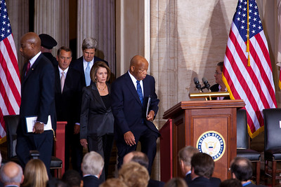 The 50th anniversary of John F. Kennedy's inaugural address was marked with speeches celebrating Kennedy's famous call on Americans to serve their country. House Speaker John Boehner (R-OH), Senator John Kerry (D-MA), House Minority Leader Nancy Pelosi (D-CA) and Rep. John Lewis (D-GA) were among the speakers at the ceremony in the central Rotunda of the United States Capitol held a half-century after Kennedy's 1961 address. Many members of the extended Kennedy Family were in attendance. January 20, 2011 in Washington DC  (Photo by Jeff Malet)