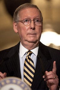 Senate Minority Leader Mitch McConnell (R-KY) speaks with reporters on Capitol Hill in Washington, Tuesday, July 19, 2011, following the weekly Republican policy meeting. (Photo by Jeff Malet)