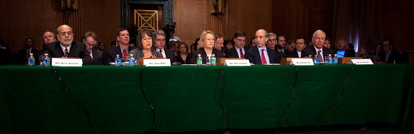 Regulators testify at the Senate Banking, Housing and Urban Affairs Committee hearing on the Dodd-Frank financial reform law, on Capitol Hill in Washington DC on Thursday, February 17, 2011. They included Federal Reserve Chairman Ben Bernanke, Federal Deposit Insurance Corp Chairman Sheila Bair, Securities and Exchange Commission Chairman Mary Schapiro, Commodities Futures Trading Commission Chairman Gary Gensler and acting Office of the Comptroller of the Currency head John Walsh. (Photo by Jeff Malet)