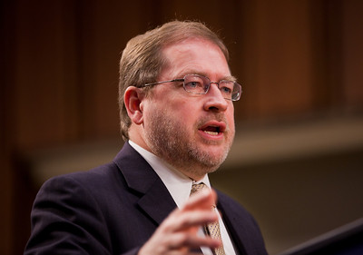 Grover Norquist speaks at the first meeting of the Senate Tea Party Caucus on Thursday January 27, 2011 on Capitol Hill in Washington DC. Norquist is president of taxpayer advocacy group Americans for Tax Reform. (Photo by Jeff Malet)