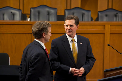 Senators Jim DeMint (R-SC) and Rand Paul (R-KY) attend the first meeting of the Senate Tea Party Caucus on Thursday January 27, 2011 on Capitol Hill in Washington DC. (Photo by Jeff Malet)
