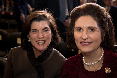 President Lyndon Johnsosn's daughters Luci Baines Johnson Turpin and Lynda Bird Johnson Robb attend a ceremony marking the 50th anniversary of John F. Kennedy's inaugural address in the central Rotunda of the United States Capitol on January 20, 2011 in Washington DC.  (Photo by Jeff Malet)