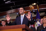 An enthusiastic House Budget Committee Chairman Rep. Paul Ryan (R-WI)  introduces his budget plan, titled