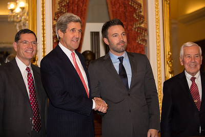Ben Affleck, in Washington D.C. this week to  raise awareness about violence in the Congo, meets with members of the Senate Foreign Relations Committee on Capitol Hill on Wed., Dec 19, 2012.  Left to right in photo, Senator John Barrasso (R-WY), John Kerry (D-MA), Ben Affleck, and Richard Lugar (R-IN). Actor-director Affleck is among the names rumored to replace Kerry on the Democratic ballot for Massachusetts Senator should Kerry become the next U.S. Secretary of State. (Photo by Jeff Malet)