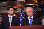 Sen. Jeff Session (R-AL) (right), ranking Republican on the Senate Budget Committee, speaks about House Budget Committee Chairman Rep. Paul Ryan's (R-WI) (left) budget plan plan, titled