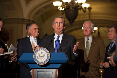 Senate Minority Leader Mitch McConnell (R-KY) speaks to reporters following the Republicans' weekly strategy session at the Capitol in Washington D.C. on Tuesday, February 28, 2012. (Photo by Jeff Malet)