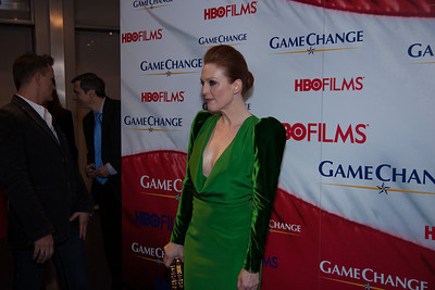 "Actress Julianne Moore appears on the red carpet at the Washington, DC, premier of the HBO movie ""Game Change"" about the 2008 McCain-Palin Republican presidential campaign. The movie was screened at the Newseum on Thursday March 8, 2012.  Moore portrays Alaska Governor Sarah Palin in the movie.  (Photo by Jeff Malet)"