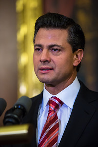 Mexican President-Elect Enrique Pena Nieto delivers brief remarks in the Rayburn Room at the U.S. Capitol building on November 27, 2012 in Washington, D.C. He appeared there with House Democratic Leader Nancy Pelosi (D-CA) and members of the Congressional Hispanic Caucus. Pena Nieto's July election victory marked the return to power of the former ruling Institutional Revolutionary Party (PRI) after a 12-year absence. He would also visit the White House and meet with President Barack Obama, just a few days before taking office on December 1. (Photo by Jeff Malet)