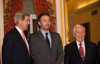 Ben Affleck, in Washington D.C. this week to  raise awareness about violence in the Congo, meets with members of the Senate Foreign Relations Committee on Capitol Hill on Wed., Dec 19, 2012.  Left to right in photo, Senator John Kerry (D-MA), Ben Affleck, and Richard Lugar (R-IN). Actor-director Affleck is among the names rumored to replace Kerry on the Democratic ballot for Massachusetts Senator should Kerry become the next U.S. Secretary of State. (Photo by Jeff Malet)