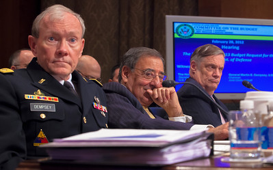 Under Secretary of Defense (Comptroller), Robert F. Hale (right);  Leon Panetta (center), Secretary of Defense; and Army General Martin E. Dempsey (left), Chairman, Joint Chiefs of Staff testify at a hearing of the Senate Budget Committee on the proposed fiscal 2013 budget request for the Department of Defense on Tuesday, February 28, 2012 on Capitol Hill in Washington D.C. (Photo by Jeff Malet)
