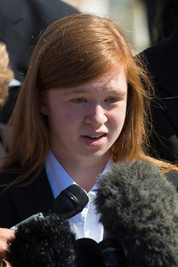 Abigail Fisher speaks to reporters near the steps of Supreme Court on October 10, 2012 in Washington D.C. The Supreme Court had just heard her challenge to its long-standing ruling that race may be considered as a factor in the admissions process (affirmative action). Justices were debating the case of Fisher v. University of Texas. The outcome could have major implications for higher education. (Photo by Jeff Malet)