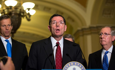 Senator John Barrasso (R-WY) briefs the press after the weekly Senate Republican Policy Committee meeting at the U.S. Capitol in Washington D.C. on November 27, 2012. Barasso endorsed the Keystone XL pipeline extension. (Photo by Jeff Malet)