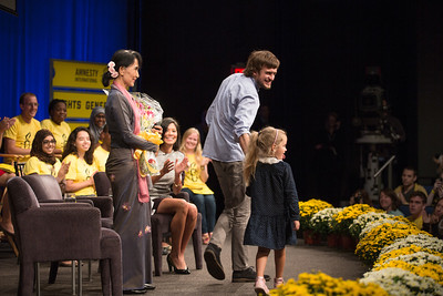 Nobel laureate Aung San Suu Kyi  participated in a town hall meeting with Amnesty International at the Newseum in Washington, D.C. on September 20, 2012. It was moderated by MSNBC Host Alex Wagner. Aung San Suu Kyi has called for the release of the members of the Russian punk rock band Pussy Riot. At this event Suu Kyi accepted a bouquet from family members of one of the group's three members, Nadia Tolokonnikova. Myanmar democracy leader Aung San Suu Kyi had just received the Congressional Gold Medal, the highest honor Congress can bestow, at a ceremony in the U.S. Capitol Rotunda on the previous day. (Photo by Jeff Malet)