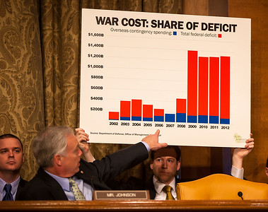 Senator Ron Johnson (R-WI) presents a chart of the cost of war as a share of the deficit. Leon Panetta, Secretary of Defense; and Army General Martin E. Dempsey, Chairman, Joint Chiefs of Staff testify at a hearing of the Senate Budget Committee on the proposed fiscal 2013 budget request for the Department of Defense on Tuesday, February 28, 2012 on Capitol Hill in Washington D.C. (Photo by Jeff Malet)