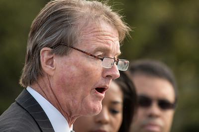 University of Texas President Bill Powers speaks to reporters near the steps of Supreme Court on October 10, 2012 in Washington D.C. The Supreme Court had just heard a challenge to its long-standing ruling that race may be considered as a factor in the admissions process (affirmative action). Justices were debating the case of Fisher v. University of Texas. The outcome could have major implications for higher education. (Photo by Jeff Malet)