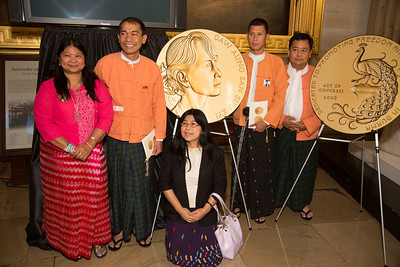 Myanmar democracy leader Aung San Suu Kyi received the Congressional Gold Medal, the highest honor Congress can bestow, at a ceremony Wednesday on September 19, 2012 in the U.S. Capitol Rotunda in Washington D.C. Former First Lady Laura Bush also joined congressional leaders to pay tribute to Aung San Suu Kyi who was first awarded the Congressional Gold Medal in 2008, while she was under 15 years of house arrest in her native country. This day she was there in person to receive the honor. (Photo by Jeff Malet)