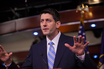 """An enthusiastic House Budget Committee Chairman Rep. Paul Ryan (R-WI)  introduces his budget plan, titled """"The Path to Prosperity""""  during a news conference on Capitol Hill in Washington D.C. on Tuesday, March 20, 2012. (Photo by Jeff Malet)"""