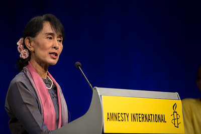 Nobel laureate Aung San Suu Kyi  participated in a town hall meeting with Amnesty International at the Newseum in Washington, D.C. on September 20, 2012. It was moderated by MSNBC Host Alex Wagner. Myanmar democracy leader Aung San Suu Kyi had just received the Congressional Gold Medal, the highest honor Congress can bestow, at a ceremony in the U.S. Capitol Rotunda on the previous day. (Photo by Jeff Malet)