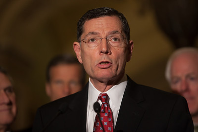 Sen. John Barrasso (R-WY) joins Senate Minority Leader Mitch McConnell (R-KY) as they talk to reporters following the Republicans' weekly strategy session at the Capitol in Washington D.C. on Tuesday, February 28, 2012. (Photo by Jeff Malet)