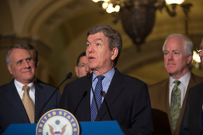 Sen. Roy Blunt (R-MO) joins Senate Minority Leader Mitch McConnell (R-KY) as they talk to reporters following the Republicans' weekly strategy session at the Capitol in Washington D.C. on Tuesday, February 28, 2012. (Photo by Jeff Malet)