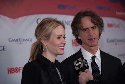 "Actress Sarah Paulson and film director Jay Roach appear on the red carpet at the Washington, DC, premier of the HBO movie ""Game Change"", which Roach directed, based on the political bestseller of the same name about the 2008 McCain-Palin Republican presidential campaign. Paulson portrays Nicolle Wallace, a senior advisor for the campaign. The movie was screened at the Newseum on Thursday March 8, 2102. (Photo by Jeff Malet)"