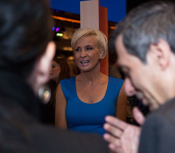 "MSNBC's Mika Brzezinski appears at the viewing party during the Washington D.C. premier of the HBO movie ""Game Change"" based on the political bestseller of the same name about the 2008 McCain-Palin Republican presidential campaign. The movie was screened at the Newseum on Thursday. March 8, 2102. (Photo by Jeff Malet)"