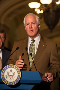 Sen. John Cornyn (R-TX) joins Senate Minority Leader Mitch McConnell (R-KY) as they talk to reporters following the Republicans' weekly strategy session at the Capitol in Washington D.C. on Tuesday, February 28, 2012. (Photo by Jeff Malet)