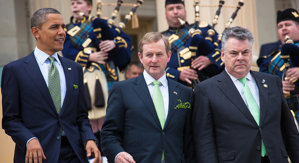 President Barack Obama welcomed Irish Prime Minister Enda Kenny to Washington as part of an extended St. Patrick's Day celebration. In photo from left, President Barack Obama, Irish Prime Minister Edna Kenny, and Rep. Peter King (R-NY), walk down the steps of the Capitol in Washington on Tuesday, March 20, 2012, following a luncheon inside the Capitol. The leaders all wore green ties and were serenaded by the United States Air Force Reserve Pipe Band. (Photo by Jeff Malet)