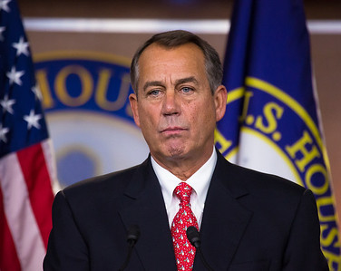 A dour House Speaker John Boehner (R-OH) held a press conference on Friday morning on Capitol Hill, on Dec. 21, 2012,  a day after Boehner was forced by his Republican members to abandon legislation that would have raised taxes on incomes over one million dollars (which he called 'Plan B'). He stated that he would continue to work on legislation to avoid a fiscal crisis, but indicated that President Obama and the U.S. Senate must now lead the way. House Majority Leader Eric Cantor (R-VA) also spoke. (Photo by Jeff Malet).