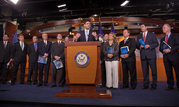 "House Budget Committee Chairman Rep. Paul Ryan (R-WI), center, introduces his budget plan, titled ""The Path to Prosperity""  during a news conference on Capitol Hill in Washington D.C. on Tuesday, March 20, 2012. (Photo by Jeff Malet)"