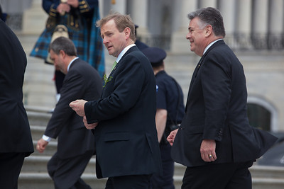 President Barack Obama welcomed Irish Prime Minister Enda Kenny to Washington as part of an extended St. Patrick's Day celebration. In photo  Irish Prime Minister Edna Kenny (left), and Rep. Peter King (R-NY), walk back up the steps of the Capitol in Washington on Tuesday, March 20, 2012, following the departure of President Obamal. The leaders all wore green ties and were serenaded by the United States Air Force Reserve Pipe Band. (Photo by Jeff Malet)